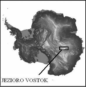 Położenie jeziora Vostok na Antarktydzie (Bell R.E., Karl D.M., 1998)